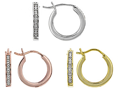 Photo of Englid™ .10ctw White Diamond, 14K Yellow & Rose Gold & Rhodium over Sterling Silver Earring Set of 3