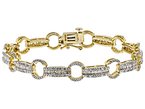 Photo of Engild™ 1.85ctw Baguette And Round White Diamond 14K Yellow Gold Over Sterling Silver Bracelet - Size 7