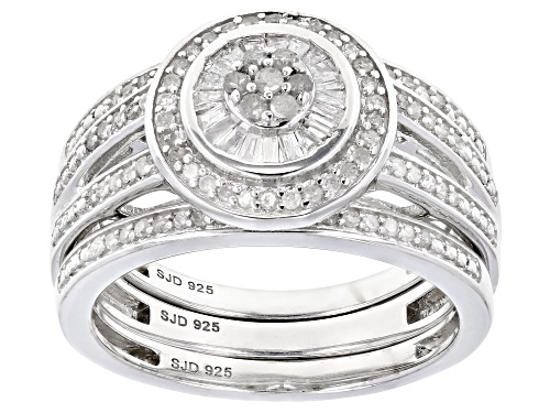 Photo of 0.50ctw Round And Baguette White Diamond Rhodium Over Sterling Silver Ring With Matching Bands - Size 5