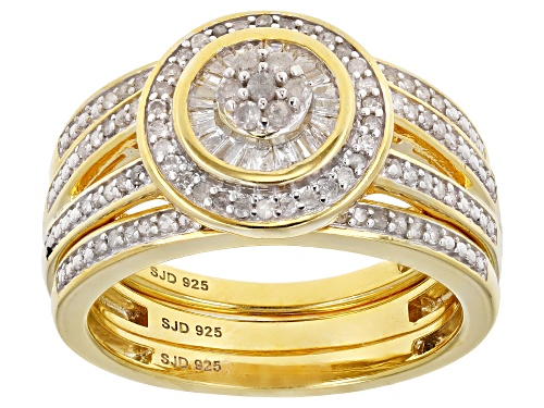 Photo of Engild™ Round And Baguette .50ctw White Diamond 14K Yellow Gold Over Sterling Silver Ring With Bands - Size 7