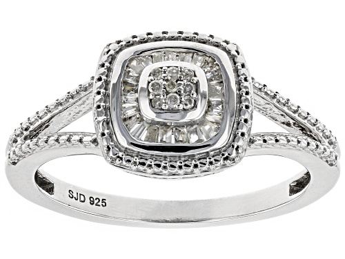 Photo of 0.15ctw Baguette And Round White Diamond Rhodium Over Sterling Silver Ring - Size 7