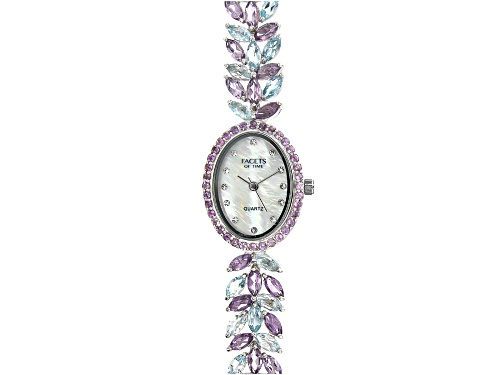Photo of Facets Of Time™ 15.66ctw Glacier Topaz™ and Amethyst with MOP Dial Sterling Silver Watch