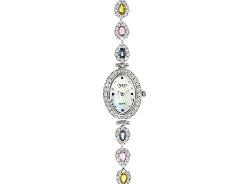Photo of Facets Of Time™ 3.04ctw multi Sapphire 6ctw White Zircon Mop Dial Sterling Silver Watch