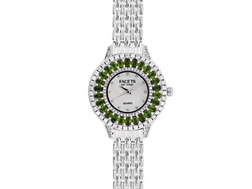 Photo of Facets Of Time™ Chrome Diopside White Zircon Mop Dial Sterling Silver Watch