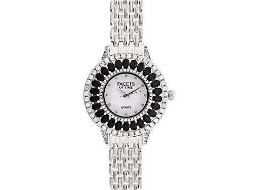 Photo of Facets Of Time™ Black Spinel White Zircon Mop Dial Sterling Silver Watch