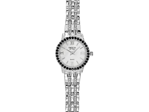Photo of Facets Of Time ™ 1.44ctw Round Black Spinel And 1.26ctw Round Zircon Sterling White Watch