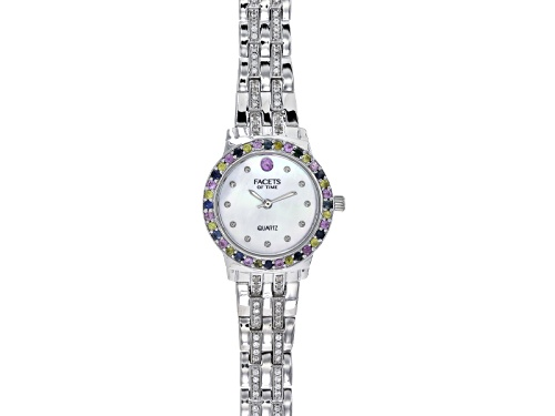 Photo of Facets Of Time ™ 2.4ctw Blue Pink And Yellow Sapphire And White Zircon Sterling White Watch