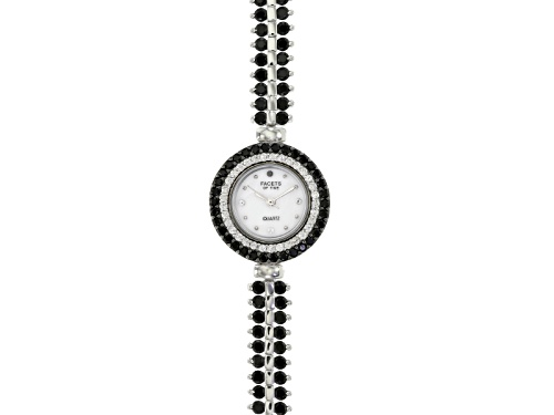Photo of Facets Of Time ™ 9.75ctw Round Black Spinel & 1.15ctw Round White Zircon Sterling Silver Watch