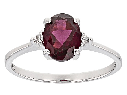 Photo of 1.19ct Oval Grape Color Garnet With .03ctw Round White Zircon 10k White Gold Ring. - Size 8
