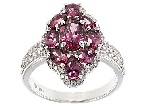 Photo of 1.89ctw Oval And Pear Shape Grape Color Garnet With .24ctw Round White Zircon 10k White Gold Ring - Size 8