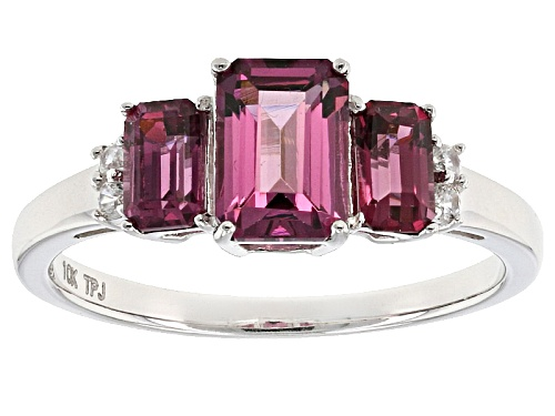 Photo of 1.60ctw Emerald Cut Grape Color Garnet With .06ctw Round White Zircon 10k White Gold 3-Stone Ring. - Size 8