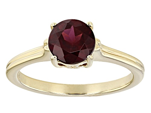 Photo of 1.39ct Round Grape Color Garnet 10k Yellow Gold Solitaire Ring - Size 8