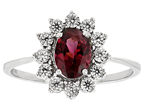 Photo of .75ct Oval Grape Color Garnet With .60ctw Round White Zircon 10k White Gold Ring - Size 8