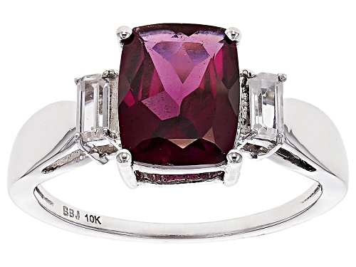 Photo of 2.45ct Rectangular Cushion Grape Color Garnet With .40ctw Baguette White Zircon 10k White Gold Ring. - Size 8