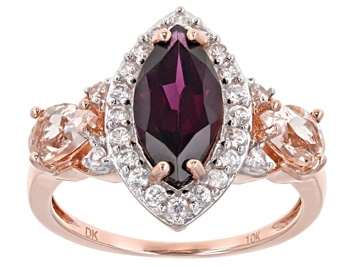 Photo of 1.87ct Grape Color Garnet With 1.15ctw Cor-De-Rosa Morganite™ And White Zircon 10k Rose Gold Ring - Size 7