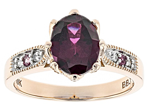 Photo of 1.78c Grape Color Garnet, .03ctw Pink Tourmaline And .02ctw 4 Diamond Accents 10k Rose Gold Ring - Size 8