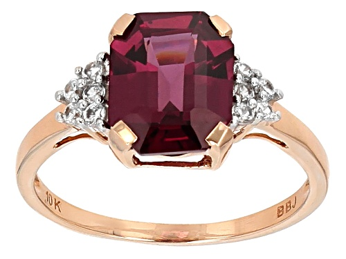 Photo of 3.69ct Rectangular Octagonal Grape Color Garnet With .17ctw Round White Zircon 10k Rose Gold Ring. - Size 7