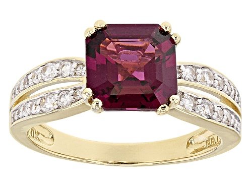 Photo of 2.63ct Square Octagonal Grape Color Garnet With .31ctw Round White Zircon 10k Yellow Gold Ring. - Size 6