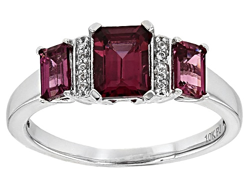 Photo of 1.55ctw Emerald Cut Grape Color Garnet With .07ctw Round White Zircon 10k White Gold Ring. - Size 7