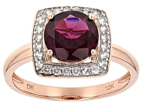 Photo of 2.04ct Round Grape Color Garnet With .30ctw Round White Zircon 10k Rose Gold Ring. - Size 8