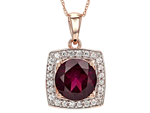 Photo of 2.05ct Round Grape Color Garnet With .32ctw Round White Zircon 10k Rose Gold Pendant with Chain.