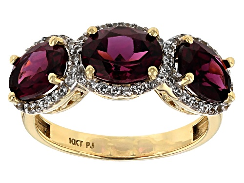Photo of 3.90ctw Oval Grape Color Garnet With 0.36ctw Round White Zircon 10k Yellow Gold 3-Stone Ring - Size 6