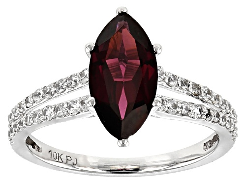 Photo of 1.71ct Marquise Grape Color Garnet With 0.47ctw Round White Zircon Rhodium Over 10k White Gold Ring. - Size 8