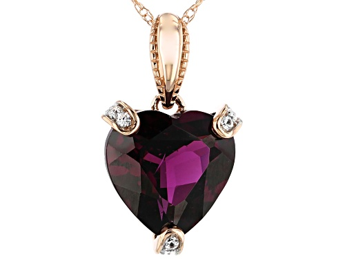 Photo of 2.89ct Heart Shape Grape Color Garnet With .05ctw White Zircon 10k Rose Gold Pendant With Chain