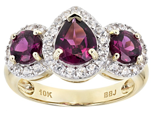 Photo of 1.09ctw Pear Shape and Round Grape Color Garnet with .62ctw Round White Zircon 3-Stone 10k Gold Ring - Size 8