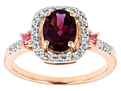 Photo of 1.19ct Oval Grape Color Garnet, .19ctw White Zircon And .07ctw Pink Sapphire 10k Rose Gold Ring - Size 8