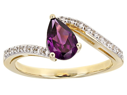 Photo of .88ct Pear Shape Grape Color Garnet With .10ctw Round White Zircon 10k Yellow Gold Ring - Size 8