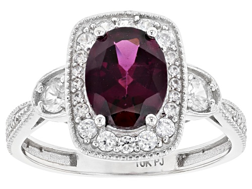 Photo of 1.86ct Oval Grape Color Garnet With .61ctw Round White Zircon Rhodium Over 10k White Gold Ring - Size 7