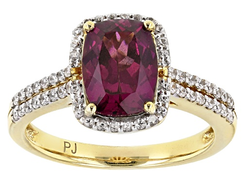 Photo of 2.07ct Rectangular Cushion Grape Color Garnet With .56ctw Round White Zircon 10k Yellow Gold Ring - Size 7