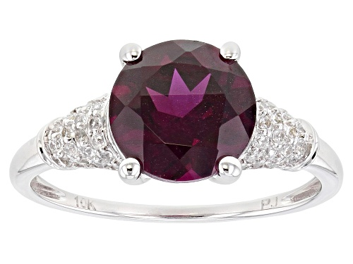 Photo of 2.38ct Round Grape Color Garnet With .36ctw Round White Zircon Rhodium Over 10k White Gold Ring - Size 6