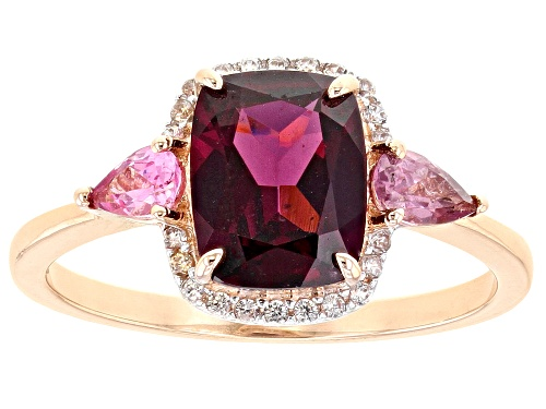 Photo of 2.07ct Grape Color Garnet with .40ctw Pink Spinel And .11ctw White Zircon 10k Rose Gold Ring - Size 8