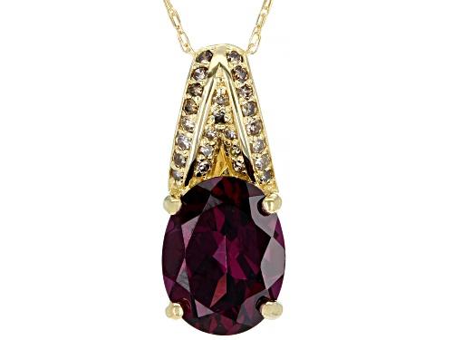 1.62ct Oval Grape Color Garnet & .07ctw Champagne Diamond Accent 10k Yellow Gold Pendant W/Chain