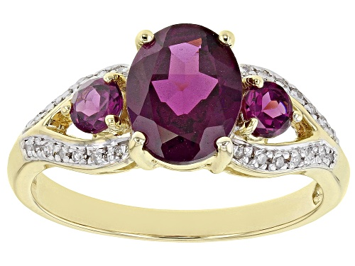 Photo of 1.86ctw Oval & Round Grape Color Garnet With .07ctw Round White Diamond Accent 10k Yellow Gold Ring - Size 7