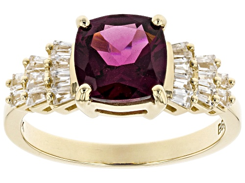 Photo of 2.14ct Square Cushion Grape Color Garnet & .46ctw Tapered Baguette White Zircon 10k Yellow Gold Ring - Size 7