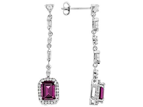 Photo of 2.14ctw Grape Color Garnet With .53ctw White Zircon Rhodium Over 10k White Gold Dangle Earrings