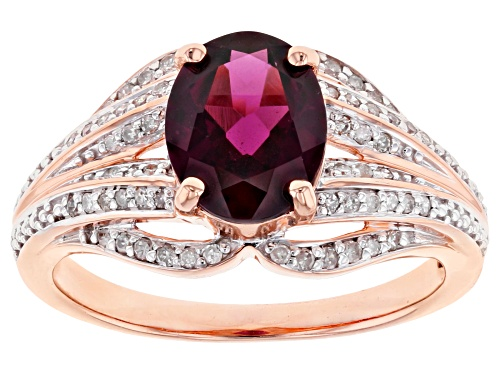 Photo of 1.62ct Oval Grape Color Garnet With 0.18ctw Round White Diamond 10k Rose Gold Ring - Size 7