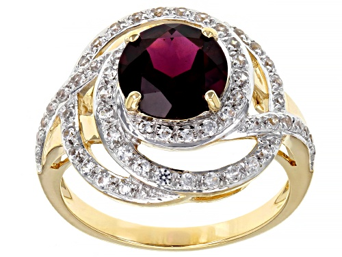 Photo of 2.04ct Round Grape Color Garnet With 0.51ctw  Round White Zircon 10k Yellow Gold Ring - Size 7