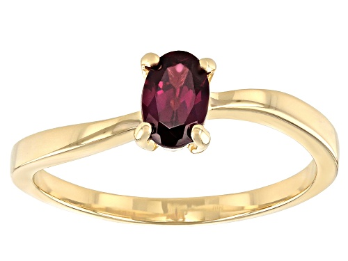 Photo of 0.48ct Oval Grape Color Garnet 10k Yellow Gold Ring - Size 7