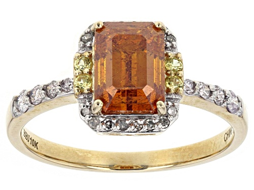 2.17ct Rectangular Octagonal Sphalerite With .04ctw Sapphire And .15ctw Diamond 10k Gold Ring. - Size 8