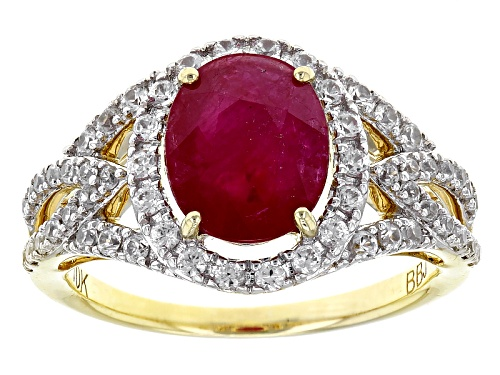 Photo of 2.33ct Oval Mozambique Ruby With .74ctw Round White Zircon 10k Yellow Gold Ring. - Size 8