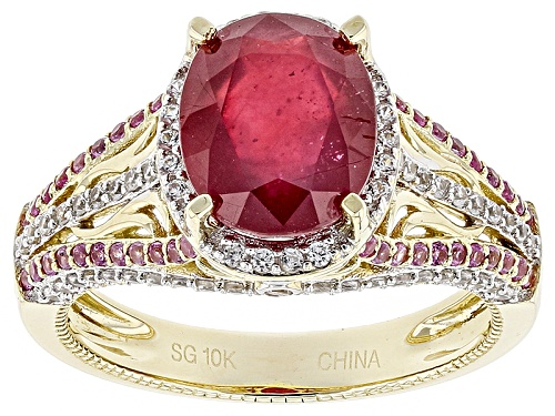 Photo of 3.74ct Oval Mahaleo® Ruby With .80ctw Round Zircon And Sapphire 10k Yellow Gold - Size 8