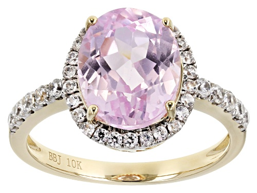 Photo of 1.05ct Oval Pink Kunzite With .32ctw Round White Zircon 10k Yellow Gold Ring. - Size 8