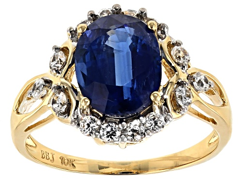 Photo of 2.92ct Oval Kyanite With .61ctw Round White Zircon 10k Yellow Gold Ring. - Size 8