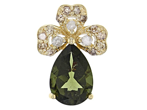 Photo of 1.28ct Pear Shaped Moldavite With .21ctw Round White, Champagne Diamond 10k Yellow Gold Pendant