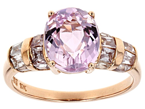 Photo of 2.82ct Oval Pink Kunzite With 1.12ctw Baguette And Tapered Baguette White Zircon 10k Rose Gold Ring. - Size 8