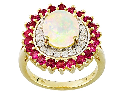 Photo of 1.32ct Oval Ethiopian Opal With .85ctw Round Red Spinel And .36ctw White Zircon 10k Yellow Gold Ring - Size 12